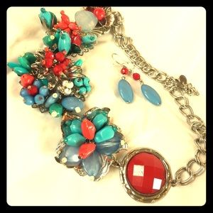 Jewelry - Fashion Statement Necklace with Matching Earrings
